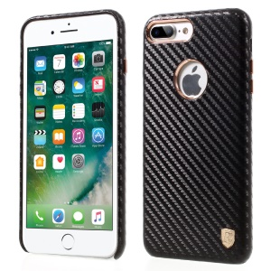 BUABEULRRY for iPhone 7 Plus Carbon Fiber Leather Coated Hard Phone Casing - Black