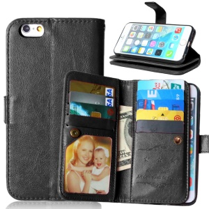 Crazy Horse 9 Card Slots Leather Wallet Case for iPhone 6s / 6 4.7 - Black