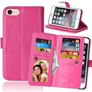 For iPhone SE (2nd generation)/8/7 4.7 inch Wallet 9 Card Slots Leather Case Crazy Horse Texture - Rose