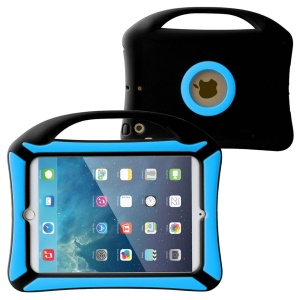 Portable Handle Kids Friendly Childproof Silicone Case for iPad Mini 3 2 1 - Blue / Black