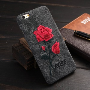 For iPhone 6s Plus / 6 Plus Embroidery Rose Flower Leather Coated PC Case - Black