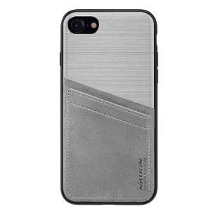 NILLKIN for iPhone 7/8/SE 2 (2020) Business Style Card Holder Hybrid Phone Cover (TPU + PC + PU Leather + Aluminum Alloy) - Grey