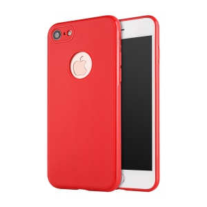 SULADA Flexible TPU Mobile Phone Casing Cover for iPhone 8 / iPhone 7 4.7 inch  Built-in Magnetic Holder Metal Sheet - Red