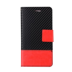 Carbon Fiber Grain Wallet Leather Phone Cover for iPhone 7 Plus with Stand - Black / Red