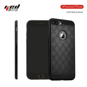 YED Grid Pattern Defender Series Drop-proof Metal + TPU Phone Case for iPhone 7 Plus - Black