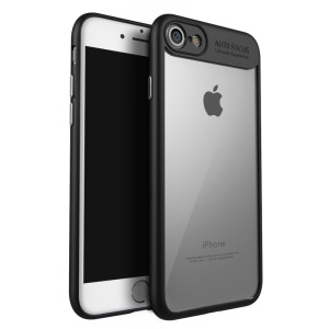 IPAKY Clear Hybrid Cell Phone Case (TPU Frame + Acrylic Back Plate) for iPhone 8/7 4.7 inch - Black