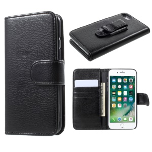 Litchi Texture Leather Wallet Cell Phone Case with Belt Clip for iPhone 7 4.7 inch - Black