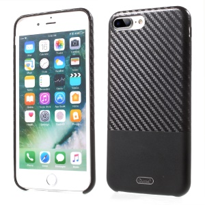 OUCASE Carbon Fiber PU Leather Coated Splicing Hard Case for iPhone 7 Plus - Black