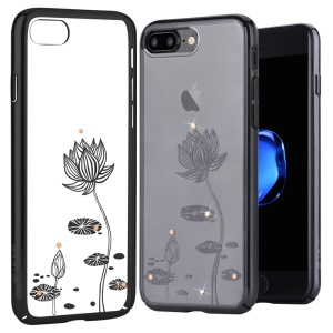 DEVIA Crystal Decor Pattern Plating PC Hard Case for iPhone 7 Plus - Black / Lotus