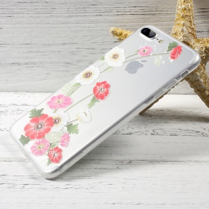 OUCASE Patterned Diamond Decor TPU Phone Accessory Case for iPhone 7 Plus - Poppy Flowers
