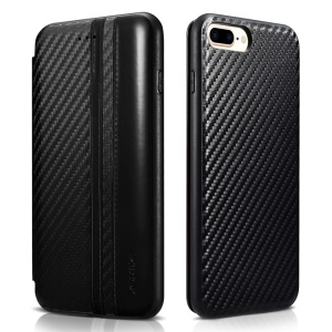 XOOMZ Carbon Fiber PU Leather + Silicone Case Card Holder for iPhone 7 Plus - Black