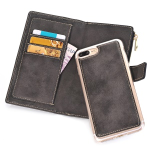 Retro Zipper Wallet Leather Cell Phone Case with Detachable TPU Back Cover for iPhone 8 Plus / 7 Plus - Black
