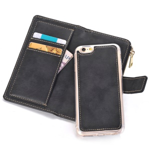 Matte Leather Zip Wallet Mobile Case Detachable 2-In-1 for iPhone 6s/6 4.7 - Black