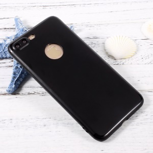 Jelly TPU Mobile Phone Case with Reserved Logo Hole for iPhone 7 Plus 5.5 inch - Black