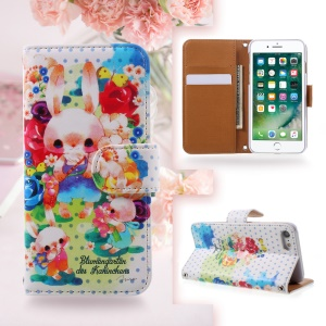 JIANG Cartoon Pattern Printing Wallet Leather Phone Cover for iPhone 7 4.7 inch - Pink Rabbit