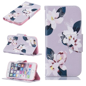 Pretty Pattern Printing Wallet Stand Leather Case for iPhone 6s 6 4.7 inch - Charming Flowers / Grey