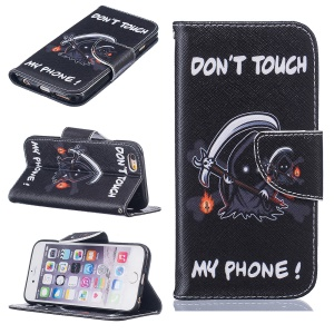 Pattern Printing Wallet Leather Phone Case for iPhone 6s 6 4.7 - Ghost and Do Not Touch My Phone