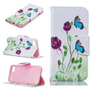 Pretty Pattern Printing Wallet Leather Phone Case for iPhone 8 / 7 4.7 inch - Butterflies and Flowers