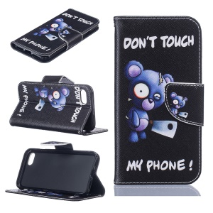 Pattern Printing Leather Wallet Phone Case for iPhone 8 / 7 4.7 inch - Bear and Do Not Touch My Phone