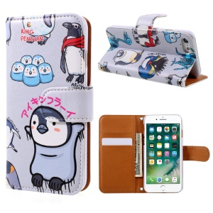 JIANG Cartoon Pattern Wallet Leather Cell Phone Case for iPhone 7 4.7 inch - Penguin Family