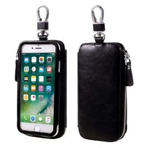 Keychain Design Zipper Wallet Leather Phone Case for iPhone 7 / 6 4.7 inch - Black