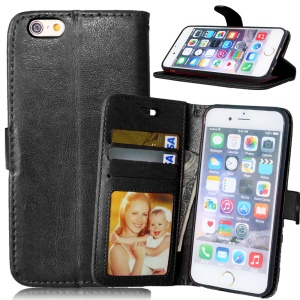 Crazy Horse Folio Wallet Case with Card Holder for iPhone 6s 6 - Black