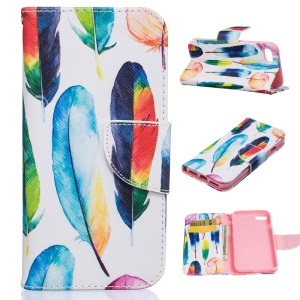Pattern Printing Stand Leather Wallet Case for iPhone 8 / 7 4.7 inch - Colorful Feathers