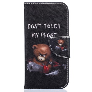 Pattern Printing Wallet Leather Cover for iPhone 8 / 7 4.7 inch - Bear and DO NOT TOUCH MY PHONE