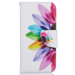 Stylish Pattern PU Leather Mobile Case Wallet for iPhone 8 / 7 4.7 inch - Colorful Petals
