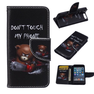 Patterned Leather Wallet Phone Stand Case for iPod Touch 6/5 - Bear and Warning