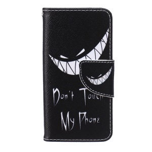 Patterned Leather Wallet Phone Stand Shell for iPod Touch (2019) / Touch 6 / 5 - Do Not Touch My Phone