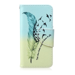 Patterned Leather Wallet Mobile Phone Case for iPod Touch 6/5 - Feather and Birds