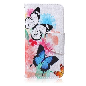 Patterned Leather Wallet Cell Phone Accessory for iPod Touch (2019) / Touch 6 / 5 - Pretty Flowers and Butterflies