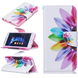 Wallet Leather Stand Case for Huawei Honor 8 - Colorful Flower
