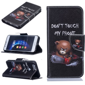 Wallet Leather Stand Cover for Huawei Honor 8 - Lovely Bear