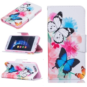 Leather Stand Case with Card Slots for Huawei Honor 8 - Butterflies and Flowers