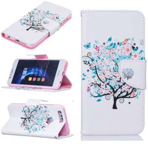 Leather Stand Cover with Card Slots for Huawei Honor 8 - Flower Tree