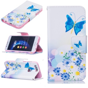 Wallet Leather Case Accessory for Huawei Honor 8 - Blue Butterfly