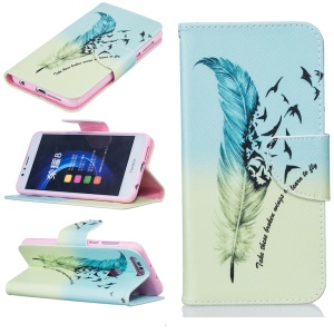 PU Leather Card Holder Case for Huawei Honor 8 - Feather Pattern