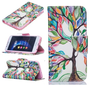 Leather Wallet Case for Huawei Honor 8 - Colorized Tree