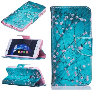 Leather Wallet Cover for Huawei Honor 8 - Tree with Flowers