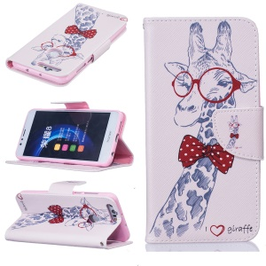 Stand Leather Wallet Case for Huawei Honor 8 - Giraffe Wearing Glasses