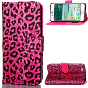 For iPhone 6s/6 4.7 Leopard Pattern Wallet Leather Case with Lanyard - Rose