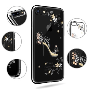 KAVARO for iPhone SE 2 (2020)/8/7 Crystal Plated PC Hard Mobile Phone Accessory - High-heeled Shoe with Butterfly