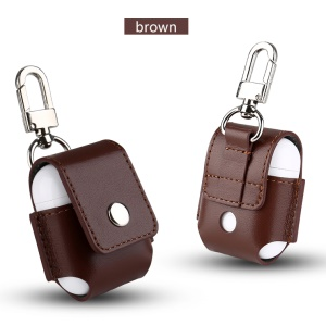 Genuine Leather Protective Pouch with Chain Clasp for Apple AirPods with Charging Case (2016) - Brown