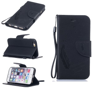 Feather Birds Imprinted Leather Wallet Case with Lanyard for iPhone 6s/6 4.7 - Black