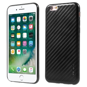 SULADA Carbon Fiber TPU Electroplating Mobile Case for iPhone 6s/6 4.7 Inch - Black