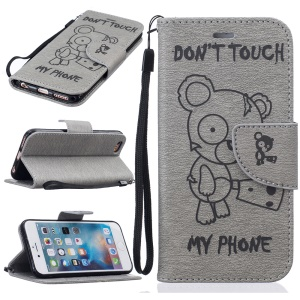 Imprint Bear Pattern Leather Wallet Case for iPhone 6s 6 - Grey