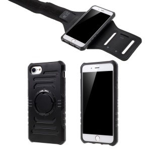 2-In-1 Sports Armband Plastic + TPU Protection Case for iPhone 8/7 Built-in Iron Sheet - Black