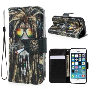 Pattern Printing Wallet Leather Stand Case for iPhone SE/5s/5 - Smoking Lion